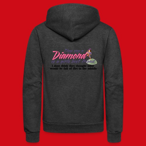 Softball Diamond is a girls Best Friend - Unisex Fleece Zip Hoodie