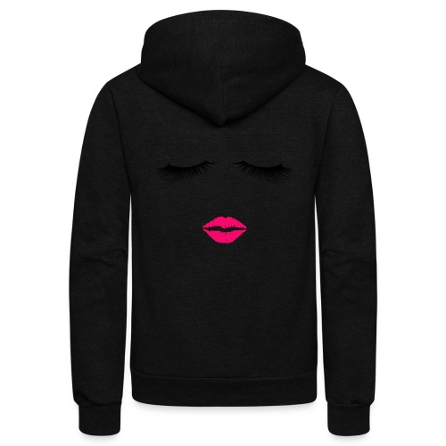 Lipstick and Eyelashes - Unisex Fleece Zip Hoodie