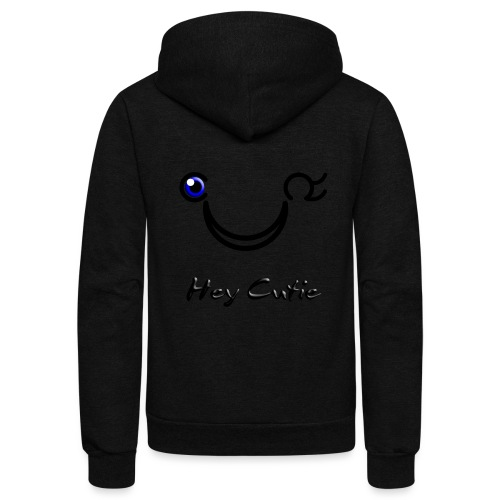 Hey Cutie Blue Eye Wink - Unisex Fleece Zip Hoodie