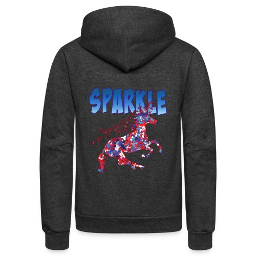 Sparkle Red, White and Blue Unicorn - Unisex Fleece Zip Hoodie