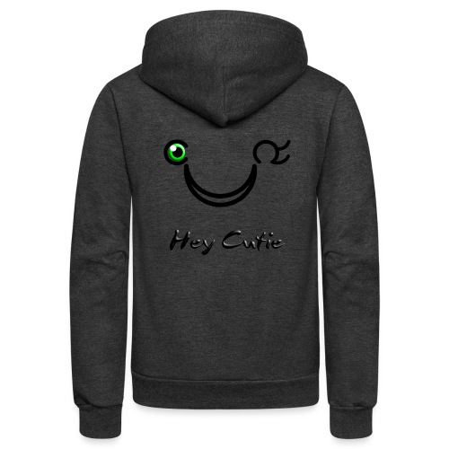 Hey Cutie Green Eye Wink - Unisex Fleece Zip Hoodie
