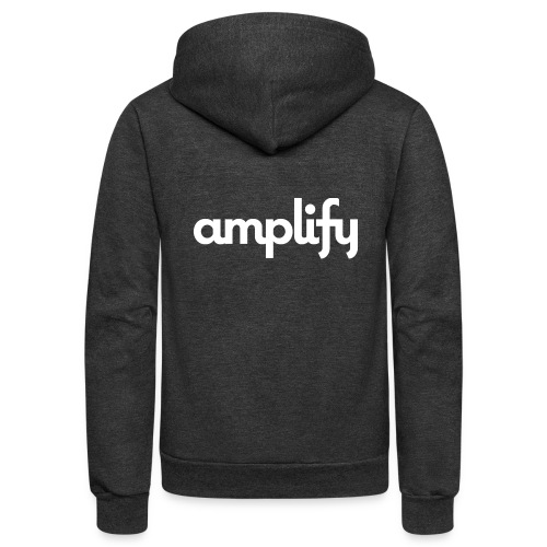amplify logo// white - Unisex Fleece Zip Hoodie