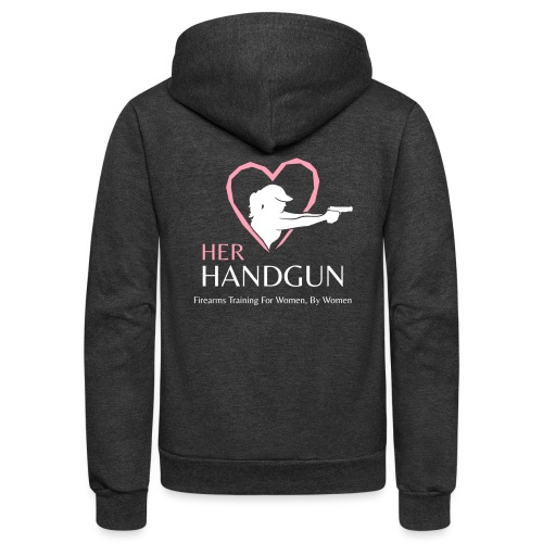 Official HerHandgun Logo with Slogan - Unisex Fleece Zip Hoodie