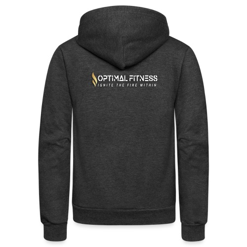 white logo transparent with gold flame - Unisex Fleece Zip Hoodie