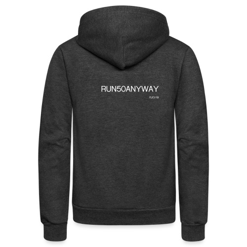 run 50 anyway white - Unisex Fleece Zip Hoodie