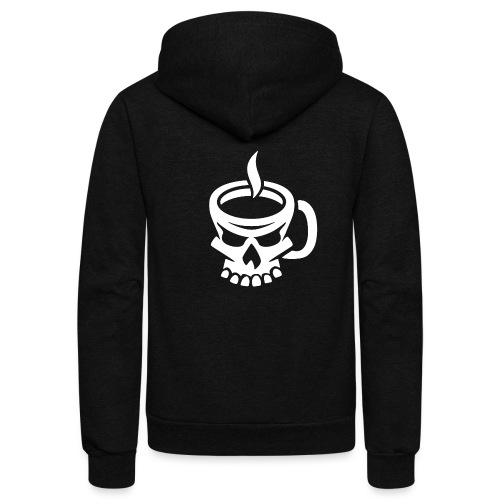 Caffeinated Coffee Skull - Unisex Fleece Zip Hoodie