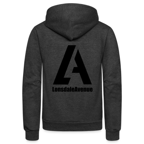 Lonsdale Avenue Logo Black Text - Unisex Fleece Zip Hoodie