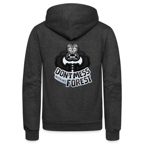 Gorilla warning about not messing with his forest - Unisex Fleece Zip Hoodie