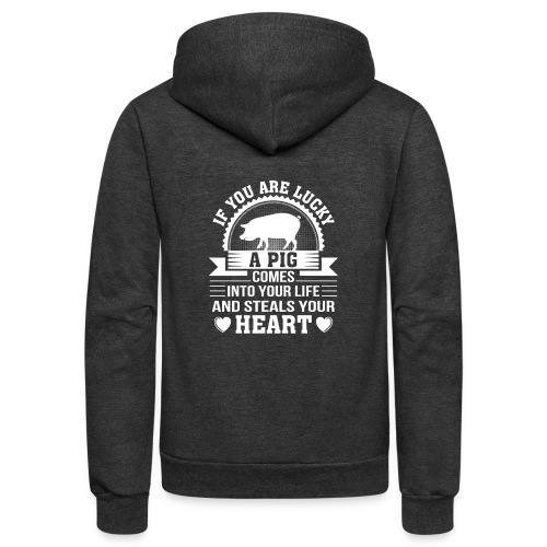 Mini Pig Comes Your Life Steals Heart - Unisex Fleece Zip Hoodie