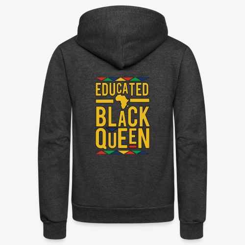 Dashiki Educated BLACK Queen - Unisex Fleece Zip Hoodie