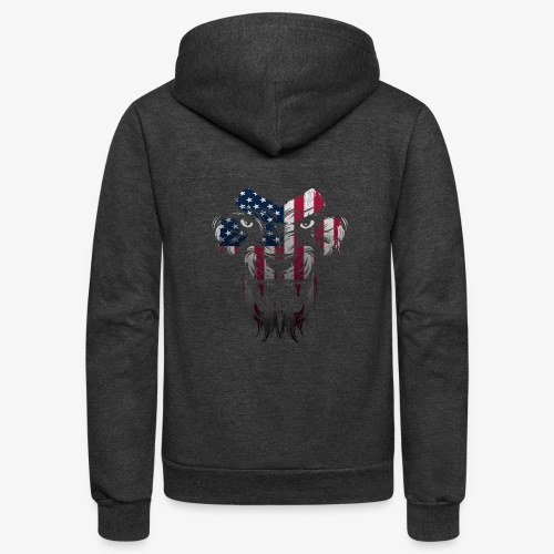 American Flag Lion Shirt - Unisex Fleece Zip Hoodie