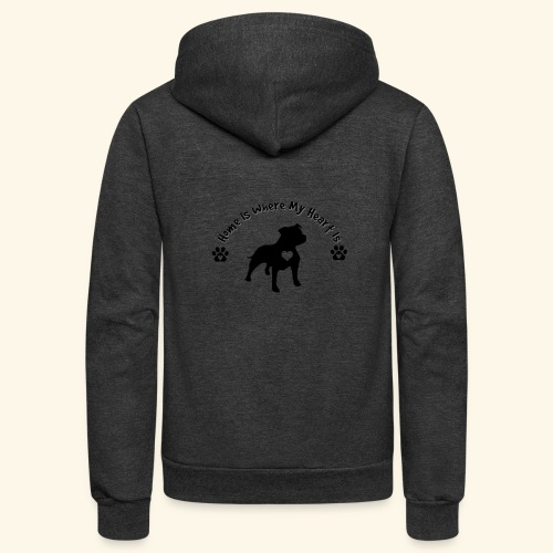 Home Is Where My Heart is Dog Lover Design - Unisex Fleece Zip Hoodie