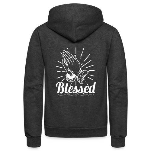 Blessed (White Letters) - Unisex Fleece Zip Hoodie