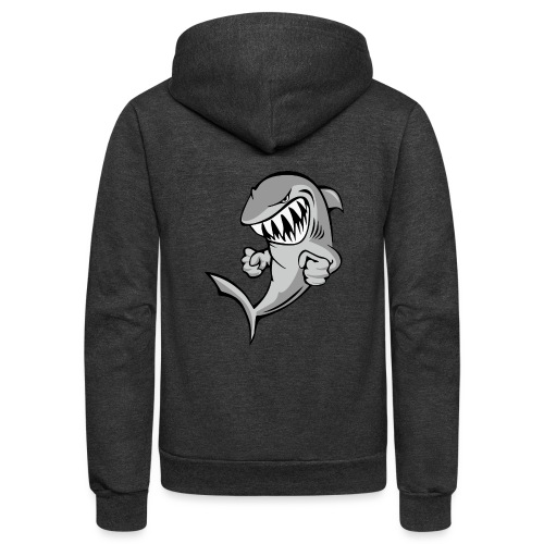 Shark With Attitude Cartoon - Unisex Fleece Zip Hoodie
