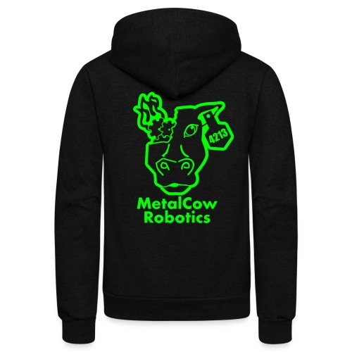 MetalCowLogo GreenOutline - Unisex Fleece Zip Hoodie