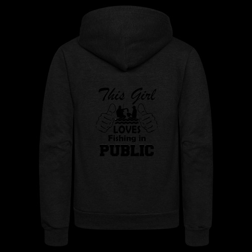 this girl loves fishing in public - Unisex Fleece Zip Hoodie