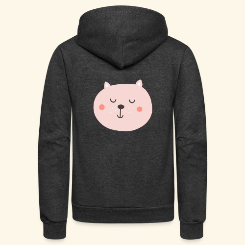 Cute Pink cat - Unisex Fleece Zip Hoodie