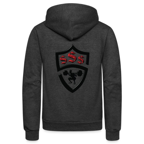 Logo Only Textured Black and Red - Unisex Fleece Zip Hoodie