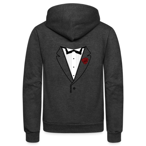 Tuxedo w/Black Lined Lapel - Unisex Fleece Zip Hoodie
