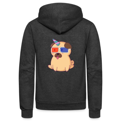 Dog with 3D glasses doing Vision Therapy! - Unisex Fleece Zip Hoodie