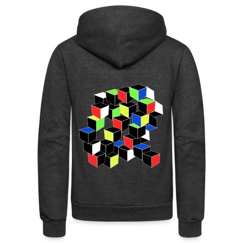 Optical Illusion Shirt - Cubes in 6 colors- Cubist - Unisex Fleece Zip Hoodie