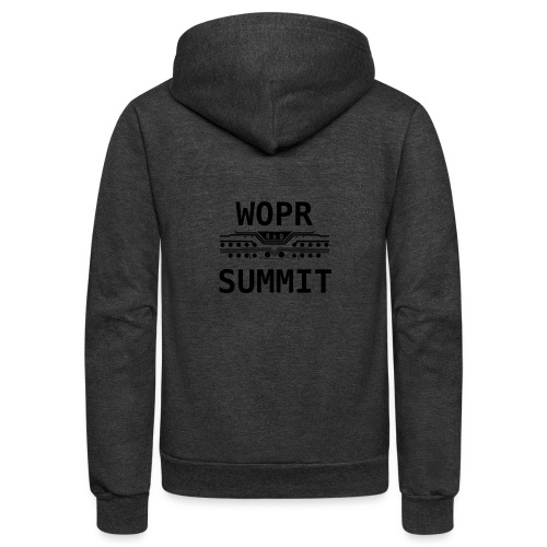 WOPR 0x0 Black Text - Unisex Fleece Zip Hoodie