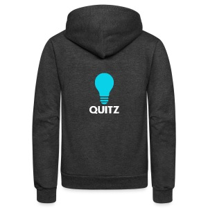 Quitz Blue w/ white text - Unisex Fleece Zip Hoodie by American Apparel