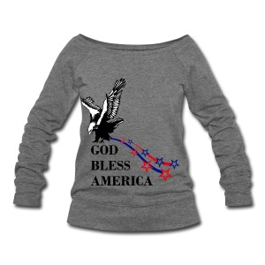 CUSTOM DESIGN GOD BLESS AMERICA - Women's Wideneck Sweatshirt
