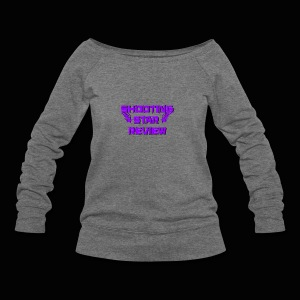 Shooting Star Review Purple Logo - Women's Wideneck Sweatshirt