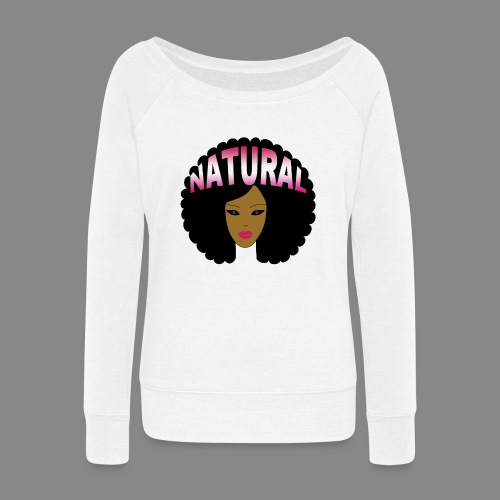 Natural Afro (Pink) - Women's Wideneck Sweatshirt