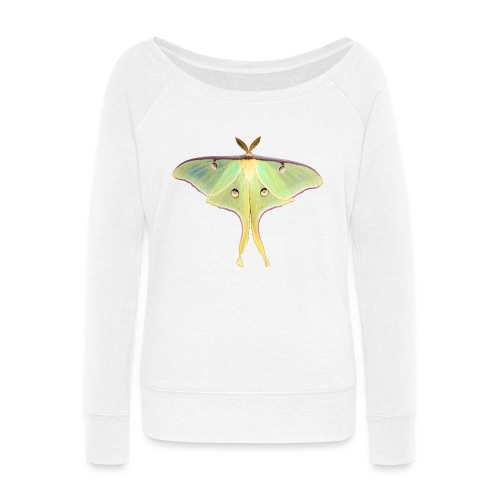 GREEN LUNA MOTH - Women's Wideneck Sweatshirt