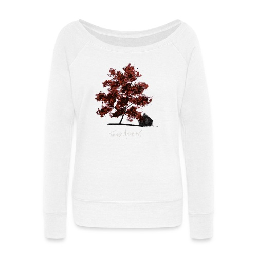 Red Tree design3PNG - Women's Wideneck Sweatshirt