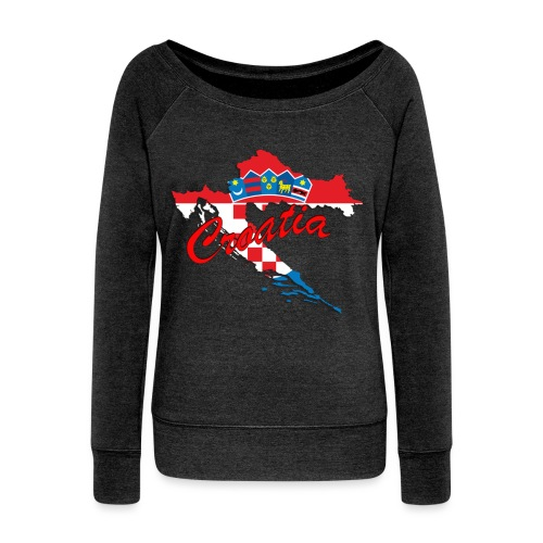 Croatia Football Team Colours T-Shirt Treasure Des - Women's Wideneck Sweatshirt