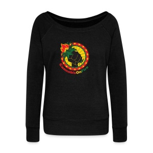 Cannabis On Fire 420 Power - Women's Wideneck Sweatshirt