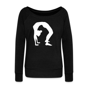 Chakrasana Backbend Yoga Pose Silhouette - Women's Wideneck Sweatshirt
