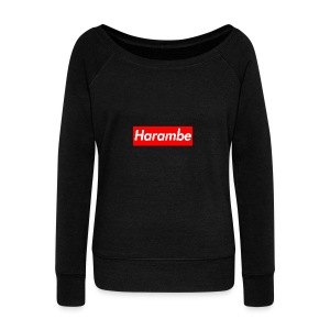 Harambe x Supreme Box Logo - Women's Wideneck Sweatshirt