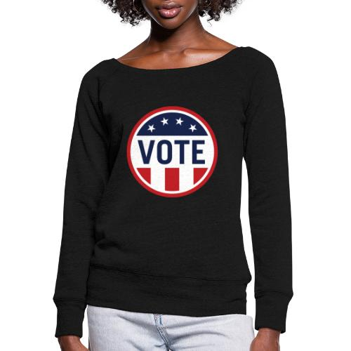 Vote Red White and Blue Stars and Stripes - Women's Wideneck Sweatshirt