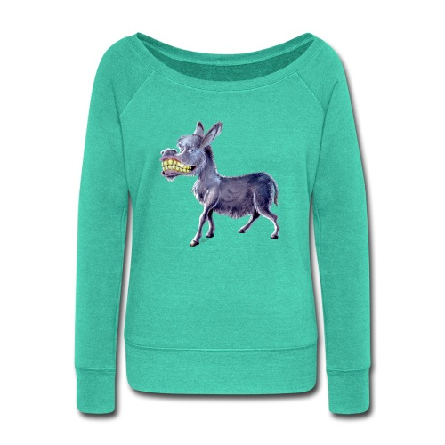 Funny Keep Smiling Donkey - Women's Wideneck Sweatshirt