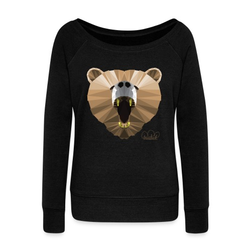 Hungry Bear Women's V-Neck T-Shirt - Women's Wideneck Sweatshirt