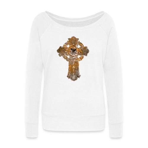 Cross_01PNG_text - Women's Wideneck Sweatshirt
