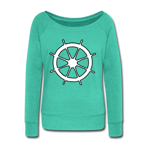 Steering Wheel Sailor Sailing Boating Yachting - Women's Wideneck Sweatshirt
