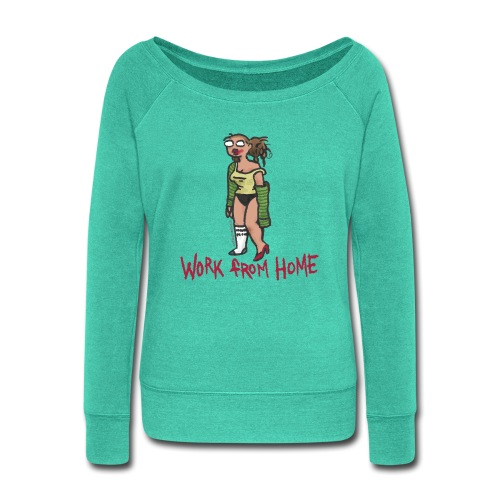 MEETING COMICS VAL WORK FROM HOME SHIRT - Women's Wideneck Sweatshirt