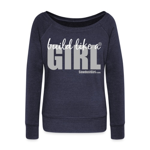 build like a girl - white - Women's Wideneck Sweatshirt