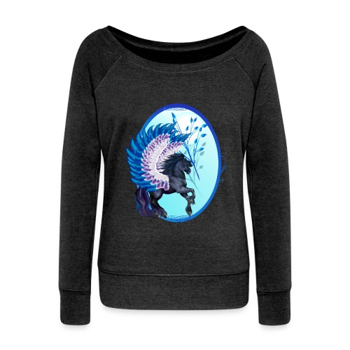 Blue Winged Pegasus Oval - Women's Wideneck Sweatshirt