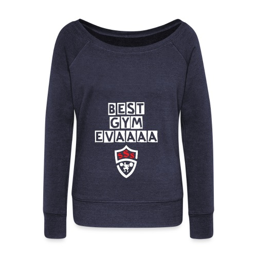 Best Gym Evaaa White and Red - Women's Wideneck Sweatshirt