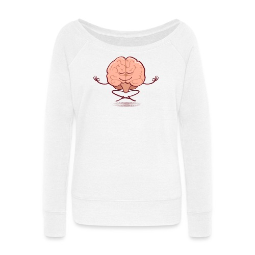 Cartoon brain meditating in lotus pose - Women's Wideneck Sweatshirt