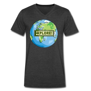 EXPLORE! Logo on the Earth - Men's V-Neck T-Shirt by Canvas
