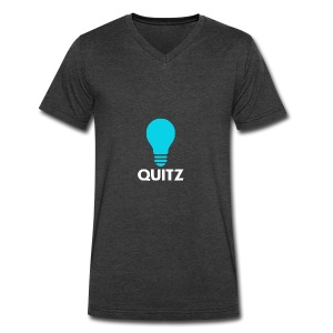 Quitz Blue w/ white text - Men's V-Neck T-Shirt by Canvas