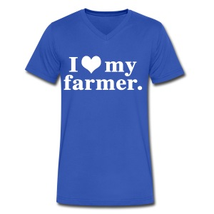 love my farmer - Men's V-Neck T-Shirt by Canvas