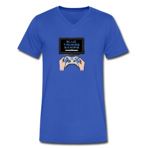 Blue Thumbs Gaming: Gamepad Logo - Men's V-Neck T-Shirt by Canvas
